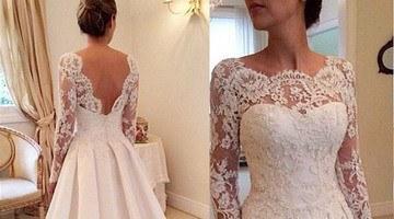 свадебный наряд с длинными рукавами