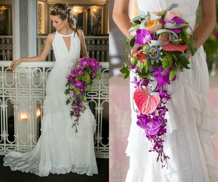 Сочетание классического белого платья и сиреневого букета