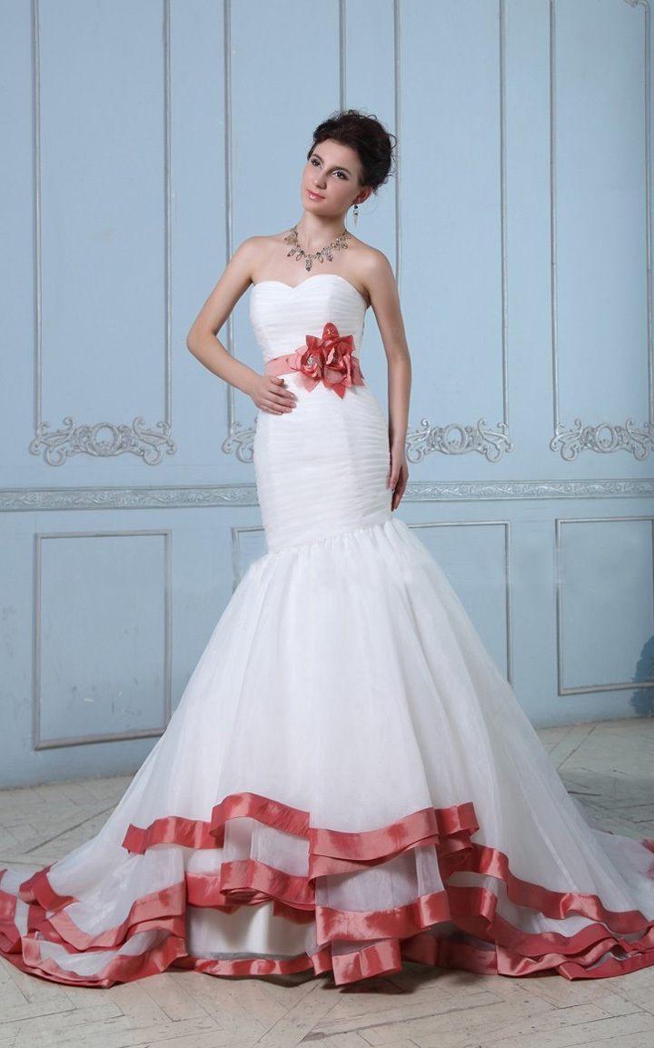 """Свадебное платье """"русалка"""" с красными элементами"""