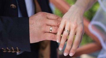 Обручальные кольца на правой руке