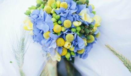 Свадебный букет для невесты в голубых тонах